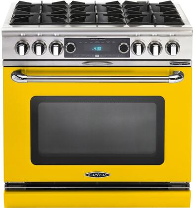 COB366YL 36 inch  Connoisseurian Series Freestanding Dual Fuel Electric Self-Cleaning Range with 4 Open Burners  4.6 Cu. Ft. Capacity  Flex Roller Racks  and