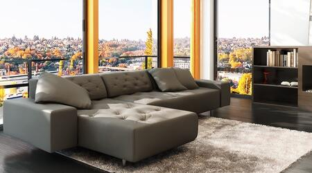 LN-307-DG 114 inch  2-Piece Sectional Sofa with High Quality Fabric Seating  Extra Thick Cushioning  and Button Tufting in Dark