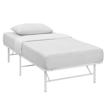 Horizon Collection MOD-5427-WHI Twin Size Platform Bed Frame with Non-Marking Foot Caps  Modern Style and Heavy Duty Stainless Steel Frame Construction in