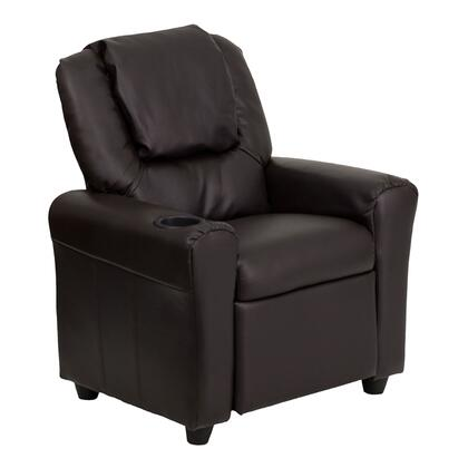 DG-ULT-KID-BRN-GG Contemporary Brown Leather Kids Recliner with Cup Holder and 435550