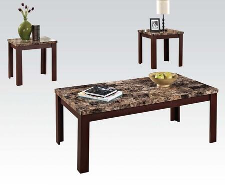 Finely Collection 80319 3 PC Living Room Table Set with Light Brown Faux Marble Top  Medium-Density Fiberboard (MDF) and Marble Paper Veneer Materials in