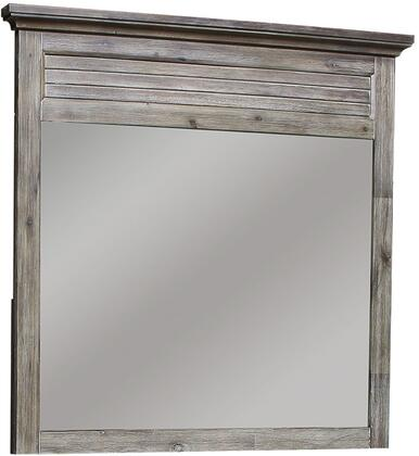 Solstice Grey Collection CF-3034-0441 45 inch  x 44 inch  Mirror with Decorative Closed Shutters  Molded Crown  Solid Acacia and New Zealand Pine Wood Construction in