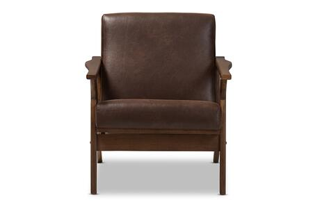 BIANCA-DARK BROWN/WALNUT BROWN-CC Baxton Studio Bianca Mid-Century Modern Walnut Wood Dark Brown Distressed Faux Leather Lounge