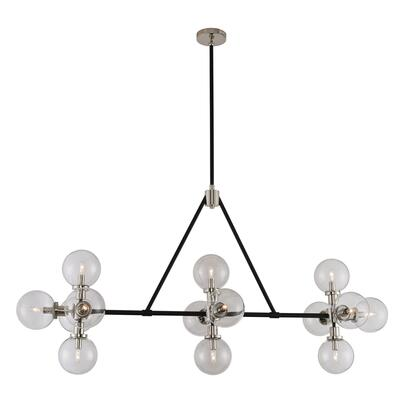 315454BPN Cameo 14-Island Light Style  120V in Matte Black Finish With Nickel Accents