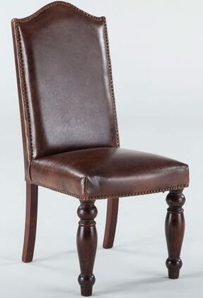 Emilia ZWEI63LMD 20 inch  Dining Chair with Nail Head Trim  Hand-Turned Legs and Leather Upholstery in Medium Distressed Brown