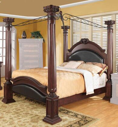 Grand Prado 202201Q Queen Size Poster Bed with Black Faux Leather Upholstered Panels  Large Posts  Metal Scrolled Top  Pine Solids and Cherry Veneers in