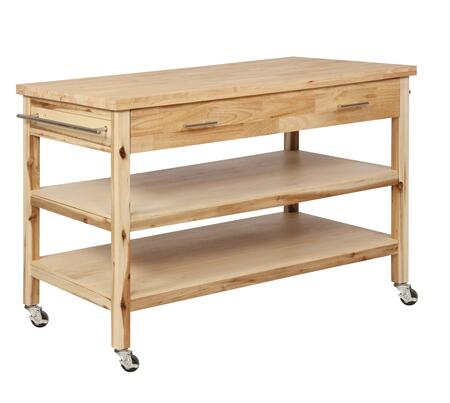 Lovett Collection D1080D17 50 inch  Kitchen Cart with Distressed Detailing  Casters and 2 Shelves in Natural