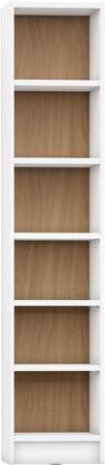 """Greenwich Collection 160253 33"""" 6-Shelf Narrow Venti 1.0 Bookcase with 6 Adjustable Shelves  Sleek Metal Hardware and Closed Base in White Matte and Maple"""