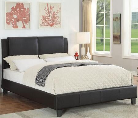 Hankate Collection 26450Q Queen Size Bed with Low Profile Footboard  Eucalyptus Wood Frame and Bycast PU Leather Upholstery in Espresso