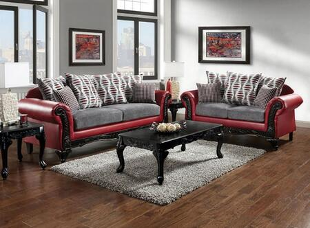 Myron Collection SM7501-SL 2-Piece Living Room Set with Stationary Sofa and Loveseat in Red and Light