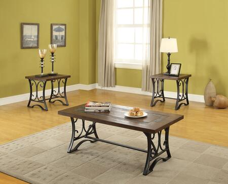 Hakesa 81130 3 PC Living Room Table Set with Coffee Table  2 End Tables  Slate Top Insert  Metal and Wood Veneer Construction in Antique Black and Cherry
