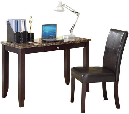 Sean Collection 92048 48 inch  Desk and Chair Set with 1 Drawer  Parson Chair  Faux Leather Cushion  Faux Marble Top and Paper Veneer Materials in Espresso