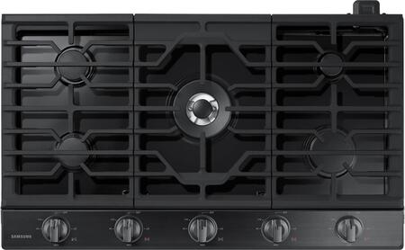 "NA36K6550TG 36"" Gas Cooktop with 5 Sealed Burners  Illuminated Knobs  Aluminum Griddle and Wifi  in Black Stainless"