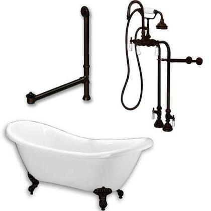 ADES-398684-PKG-ORB-NH Acrylic Double Ended Clawfoot Bathtub 68 inch  x 30 inch  with no Faucet Drillings and Complete Oil Rubbed Bronze Plumbing