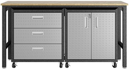 Fortress 16GMC 3-Piece Garage Cabinet and Worktable with 2 Shelves  3 Drawers and 2 Doors in