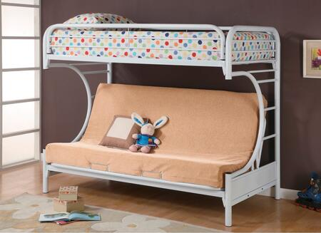 2253W Fordham C Style Metal Futon Bunk Bed with Welded Braces and Straight Round Legs in High Gloss White