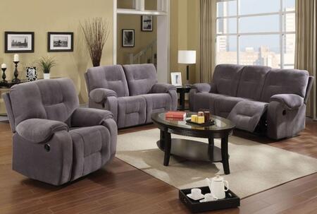 Villa 50800SLR 3 PC Living Room Set with Sofa + Loveseat + Recliner in Light Grey