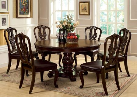 Bellagio Collection CM3319RT6WSC 7-Piece Dining Room Set with Round Dining Table and 6 Side Chairs in Brown Cherry