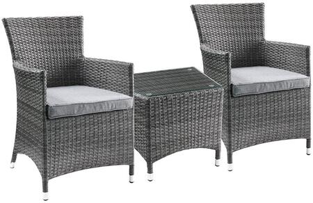 Tashelle Collection 45000 3 PC Patio Bistro Set with 2 Arm Chairs  Glass Top Table  Aluminum Legs  Water Resistant Fabric Cushions and All-Weather Wicker Frame