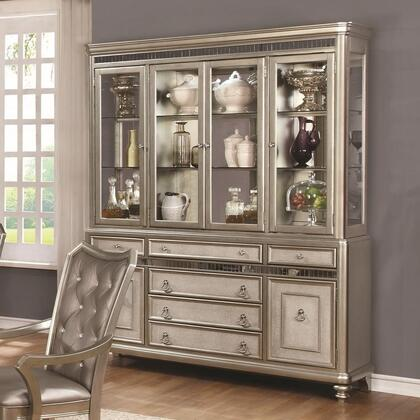 Danette Collection 107314 70 inch  China Cabinet with 4 Glass Doors  6 Drawers  2 Wood Doors  Metal Hardware  Glass Shelves  Turned Feet and Touch LED Lighting in