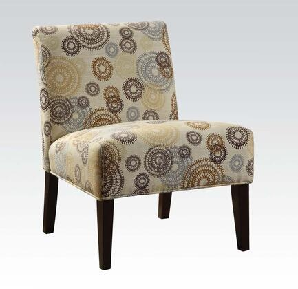 Aberly Collection 59069 30 inch  Accent Chair with Wooden Tapered Legs  Fabric Cushion  Circular Design  Rubberwood and Solid Chinese Wood Materials in Espresso