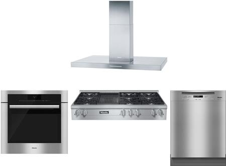 4-piece Stainless Steel Kitchen Package With Kmr1356g 48 Natural Gas Rangetop (6 Burners  Griddle)  Da424v 48 Island Mount Hood  H6780bp 30 Single Wall Oven