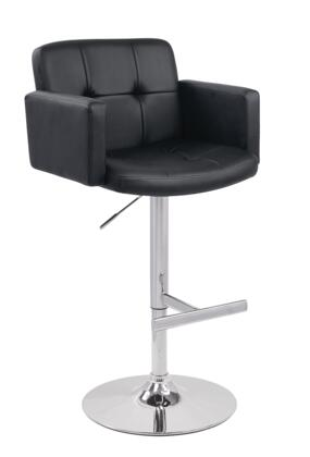 VGCBT1040-BLK Modrest 24 Barstool with Chrome Plated Adjustable Pneumatic Base  Swivel Top and Eco-Leather Upholstery in