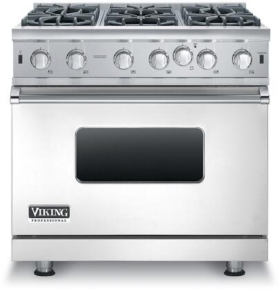 Viking VGIC53616BSS 36 Professional 5 Series Gas Range with 6 Open Burners 5.1 cu. ft. Capacity VariSimmer Setting SureSpark Ignition and Gourmet-Glo Infrared Broiler in Stainless Steel