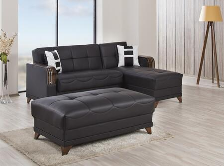 ALMSECOTTZBLK Almira Sectional Sleeper Sofa and Ottoman with Matching Pillows  Tufted Detailing  Tapered Legs and Upholstered in Zen Black