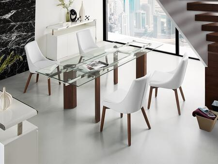 Torino Collection CBD2048WALCSET 5 PC Dining Room Set with Extendable Clear Tempered Glass Top Dining Table and 4 White Walnut Eco-Leather Upholstered Dining