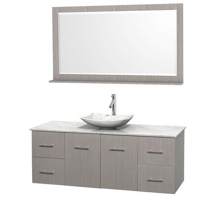 Wcvw00960sgocmgs6m58 60 In. Single Bathroom Vanity In Gray Oak  White Carrera Marble Countertop  Arista White Carrera Marble Sink  And 58 In.