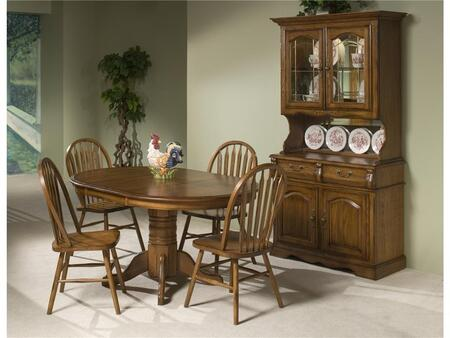 Classic Oak CO-TA-I42602250-BRU-C  Dining Room Solid Oak Pedestal Table and China Cabinet with Distressed Detailing in Burnished Rustic