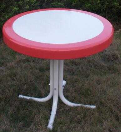 Retro Collection 71520 22 inch  Round Table with Circular Metal 2-Tone Top and Shaped Legs in