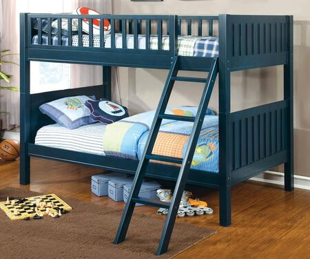 Azure Collection CM-BK615-BED Twin Size Bunk Bed with Attached Ladder  14 PC Slats Top/Bottom  Solid Wood and Wood Veneers Construction in Dark Blue