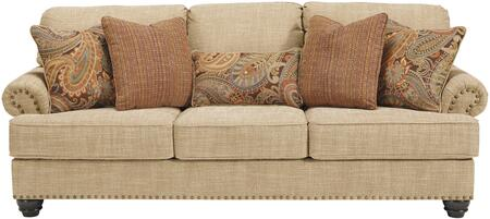 Candoro Collection 1180638 92 inch  Sofa with Fabric Upholstery  Nail Head Trims  Rolled Armrests and Short Bun Feet in