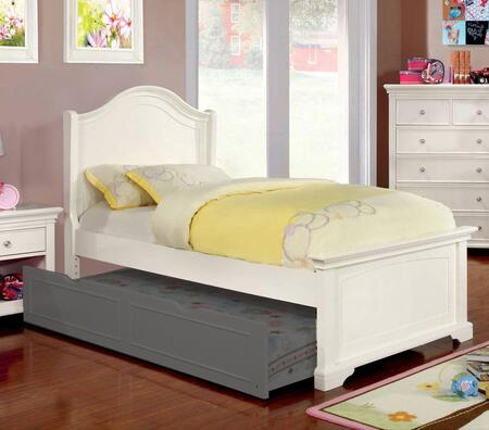 Mullan Collection CM7943WH-T-BED Twin Size Bed with Low Footboard  Soft Curved Design  Slat Kit Included  Solid Wood and Wood Veneers Construction in Off-White