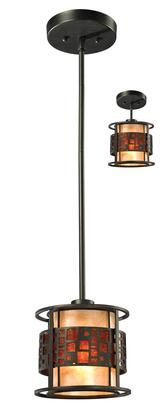 Oak Park Z8-50MP-C 7 inch  1 Light Mini Pendant Craftsman  Tiffanyhave Steel Frame with Java Bronze finish in Amber Mica Outside; White