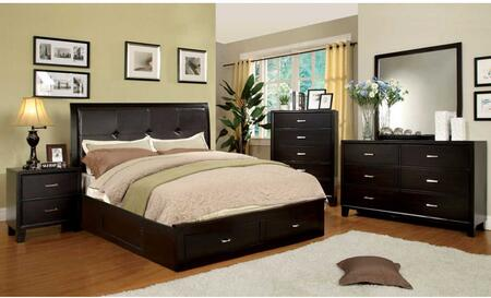 Enrico III Collection CM7066EXEKBEDSET 5 PC Bedroom Set with Eastern King Size Platform Bed + Dresser + Mirror + Chest + Nightstand in Espresso