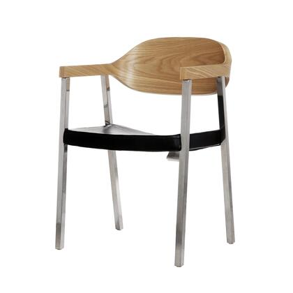 Slingshot FEC9819BLK Dining Chair with Wood Back  Stainless Steel Base and Leather Seat in
