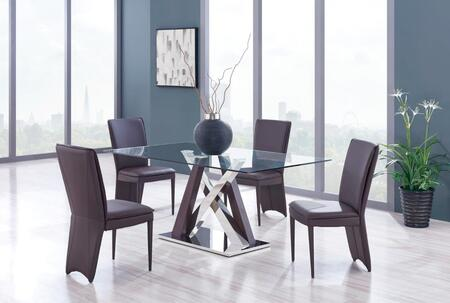 D4100DT4D6605DC-BROWN 5-Piece Dining Room Set with Dining Table and 4 Dining Chairs in Wenge and