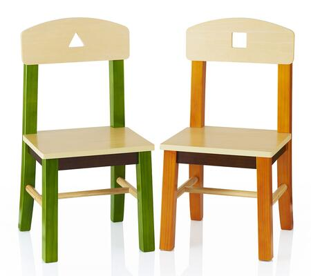 See and Store G98303 Set of 2 Extra Chairs with Cut Out Shape on Chair Back  Angled Legs to Prevent Tipping and UV Finish in Multi