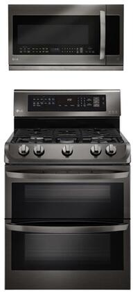 2-Piece Black Stainless Steel Package with Double Oven Gas Range and Over-the-Range