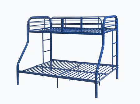 Tritan Collection 02043BU Twin Over Full Size Bed with Built-in Side Ladders  Full Length Guardrail  Slat System Included and Metal Construction in Blue