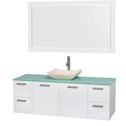Wcr410060sgwgggs2m58 60 In. Single Bathroom Vanity In Glossy White  Green Glass Countertop  Avalon Ivory Marble Sink  And 58 In.