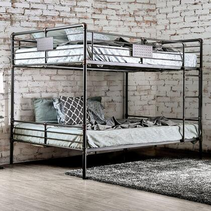 Olga I Collection CM-BK913QQ-BED Queen Size Bunk Bed with Attached Ladder  Slats Top and Bottom  Industrial Design and Full Metal Construction in Antique Black