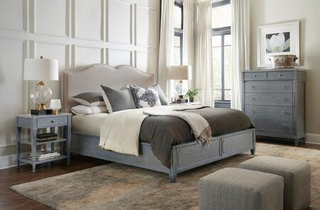 5770-KUBBTC 5-Piece Hamilton Collection Bedroom Set with King Size Upholstered Panel Bed + Bedside Table + Chest  in Grey