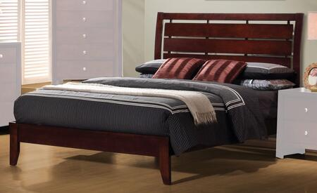 Serenity Collection 201971F Full Size Platform Bed with Horizontal Slatted and Cut-Out Headboard Design in Rich Merlot