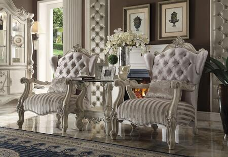 Versailles 52087CT 3 PC Living Room Set with 2 Accent Chairs + End Table in Bone White