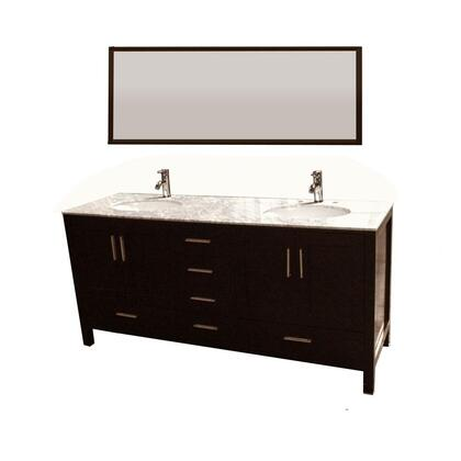 9199 71.25 In Double Vanity In Espresso With Marble Vanity Top In Carrara White And