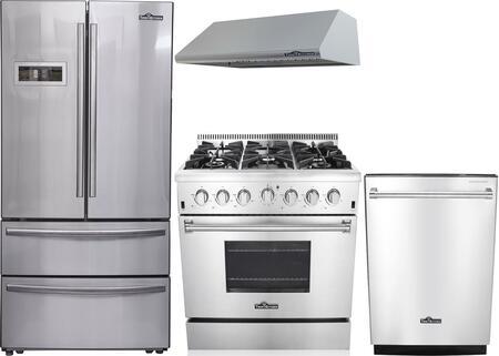 4-Piece Stainless Steel Kitchen Package with HRF3601F 36 inch  French Door Refrigerator  HRG3618U 36 inch  Freestanding Gas Range  HRH3605U 36 inch  Under Cabinet Hood  and